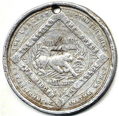 ORIGINAL 1890s GOOD FOR $1 TOKEN -- ROYAL TAILORS -- GREAT CHARGING TIGER LOGO