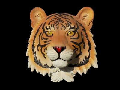 "9"" Tiger Head Wall Mount Wildlife Safari Animals Exotic Bust Home Decor"