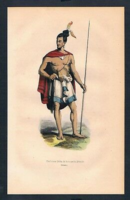 1840 - Neuseeland New Zealand Asien Asia costumes Trachten antique print 99145