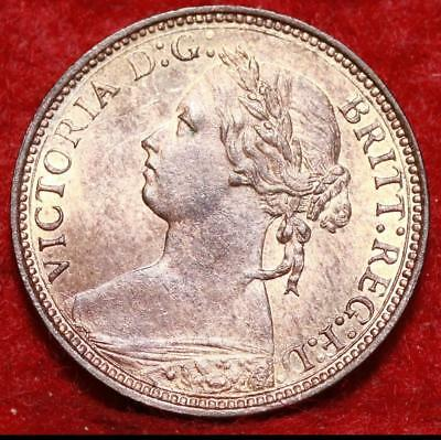 Uncirculated 1875-H Great Britain Farthing Foreign Coin