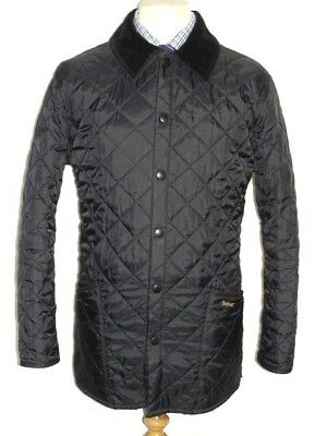 Mens Barbour Liddesdale Black Quilted Jacket With Tonal Corduroy Collar. Medium