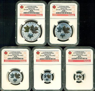 2016 Ngc Pf69 Er Canada Reverse Proof Silver Maple Leaf 5 Coin Fractional Set