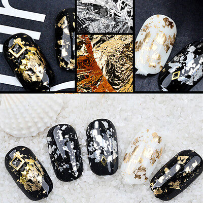 1Box Nail Art Gold Silver Metal Foil paper Flake 3D Sticker Decal Decoration DIY
