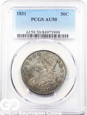 1831 PCGS Capped Bust Half Dollar PCGS AU 50 * Early Silver Half, Free Shipping!
