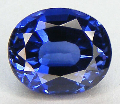 4,44CT. EXCELLENT SAPHIR BLEU CORINDON DE SYNTHESE T. OVALE 10,1x8,7 MM.