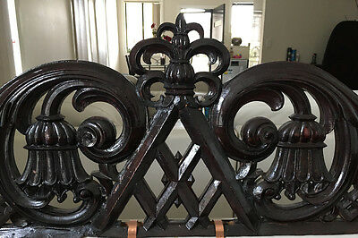 18th Century Antique Victorian Carved Oak Wood Large Pediment Wall Art