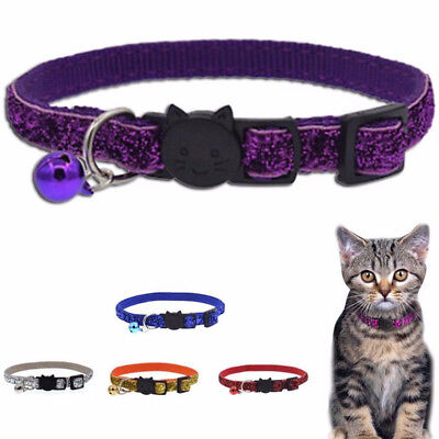 Adjustable Breakaway Reflective Nylon Cat Safety Collar with Bell for Cat Kitten