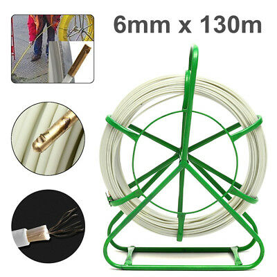 6mm 130m Fiberglass Wire Cable Fish Tape Running Rod Duct Puller Electric Reel