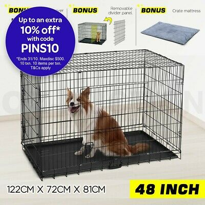 "48"" Large Dog Crate Kennel Collapsible Metal Pet Cat dog Cage Removable Divider"