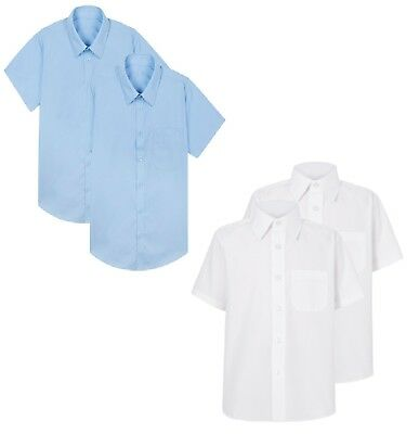 Boys School Shirts 2 Pack Short Sleeve Ex Uk Store Uniform 4-16Y New