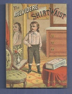 1890 Trade Card THE BELVIDERE SHIRT WAIST Jerome Kennedy & Co. Providence R.I.