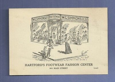 1890 Trade Card W. G. SIMMONS & CO. HARTFORD CT FOOTWEAR FASHION CENTER
