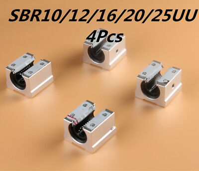 4Pcs SBR 10-25mm Aluminum Open Linear Router Motion Bearing Shaft Solide Block