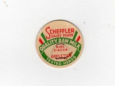 Rare Scheffler Dairy Farm Appleton Wi Raw Milk, Milk Bottle Cap Wisconsin