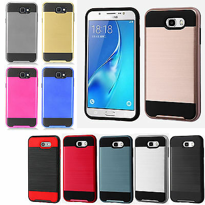 Samsung Galaxy J7 Sky Pro Brushed Metal HYBRID Rubber Case Cover +Screen Guard