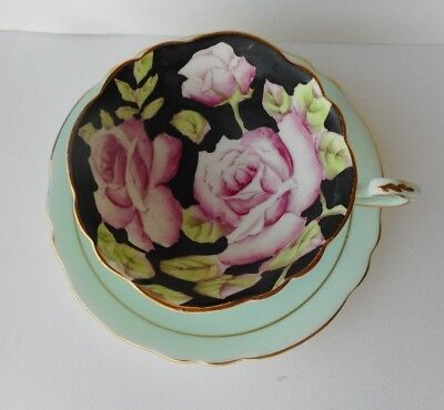 Paragon Bone China Cup & Saucer Black Cup with Rose Light Blue and  Gold Rim
