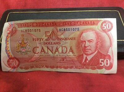 Canadian $50 Dollar Bank Note Bill EHM7494054 Circulated 1975 Canada