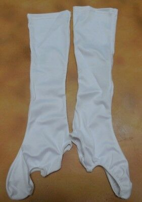 NWOT White Knee Boot Spats 70's Matte Spandex Dance Costume Item Child's Size