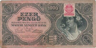 1945 1000 Pengo Hungary Currency Banknote Note Money Bank Bill Cash Budapest Ww2