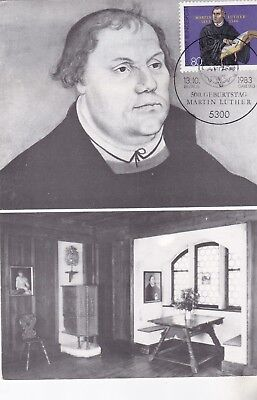 Maximumkarte - Luther n. Lucas Cranach + Luthers Zimmer in Coburg FDC 13.10.83