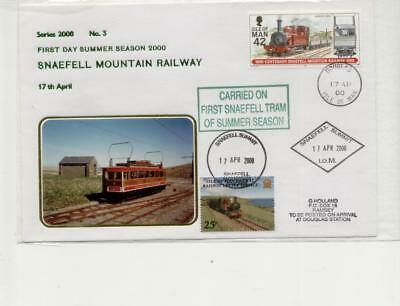 Isle of Man Railway Cover, First Day Snaefell Railway 2000, with summit cachet