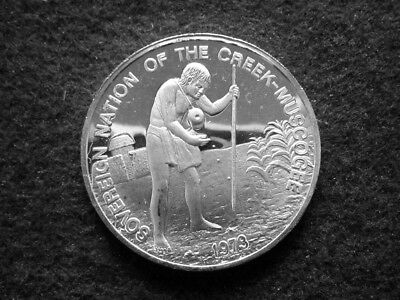 1973 Nation of Creek Muscogee Indians Silver Proof Medal- Free U S Shipping