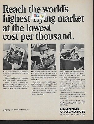 Pan Am 1964 Clipper Magazine Very Big At 30,000 Feet Highest Flying Market Ad
