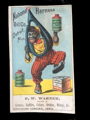 Victorian Trade Card=BLACK Americana Man=NATIONAL HARNESS OIL Can=Lansing-IA
