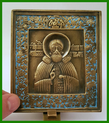 Russian orthodox bronze icon Saint Sergius of Radonezh. Enameled