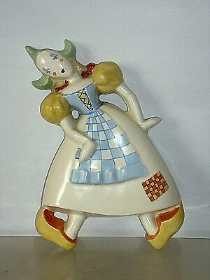 STUNNING CROWN DEVON DUTCH GIRL WALL PLAQUE MUST 26cm TALL X 16cm WIDE