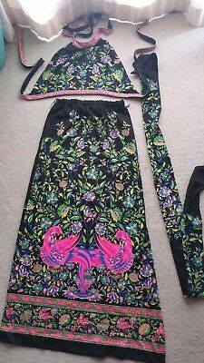 Vintage 1970s Mr Dino Psychedelic Signed Halter Top Maxi Slit Skirt w Belt Sash