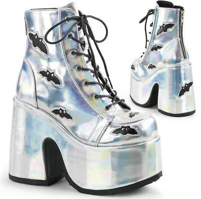 """Pleaser 5"""" Chunky Heel Lace Up Metal Women Boots Slv Hologram-Blk Vegan Leather"""