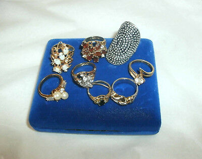 Vintage Lot Of 9 Rings, Costume, 18 Kt&8 Kt Hge, Mixed Stones
