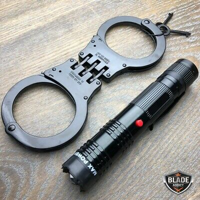 BLACK Steel Handcuffs Police Double Locking Hand Cuffs + Stun Gun Flashlight Set