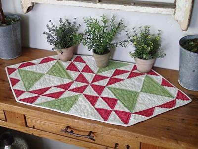 Antique c1880 Green Red & White Table Quilt Runner 26x13 Lady of the Lake