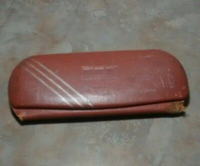 vintage metal and leather glasses case