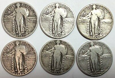 Standing Liberty Quarters - (6) Mixed Dates - Nice Condition - No Reserve