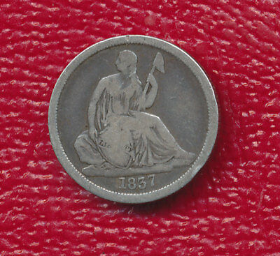 1837 Seated Liberty Silver Dime **no Stars - Large Date - Very Good** Free Ship!