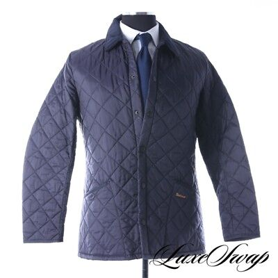 ICONIC Barbour Heritage Solid Navy Liddesdale Quilted Stroller Jacket Coat M NR