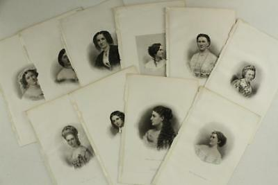 Antique Paper Art Book Plates Engraving HB HALL NY QUEENS OF AMERICAN SOCIETY