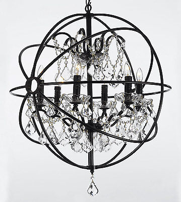 Foucaults orb wrought iron crystal chandelier 6 lights lighting foucaults orb wrought iron crystal chandelier 6 lights lighting country french aloadofball Gallery