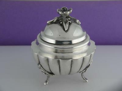 800 Silver small footed Tea Caddy / Covered Jar - w/ applied floral lid ~no mono
