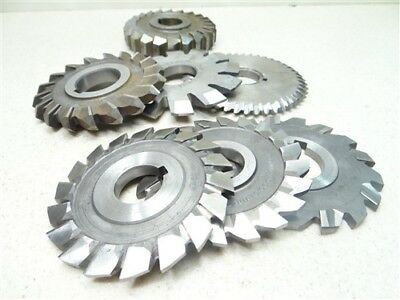 """Lot Of 7 Assorted Hss Milling Cutters 1/4"""" To 7/8"""" Widths 1"""" & 1-1/4"""" Bores"""