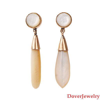 Antique Mother Of Pearl 14K Yellow Gold Dangle Drop Earrings 8.0 Grams NR