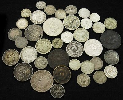 Lot of 37 Central/South American Coins (1779-1990) - Guatemala to Argentina