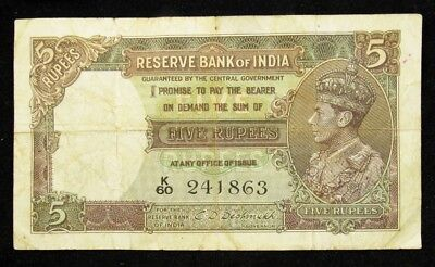 India 1937 Issue 5 Rupees Note of King George VI -Fine- PICK# 18b PG 686