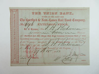 Union Bank / Hartford New Haven Rail Road Co 1859 I/C Ext Stock 7 Shares=$700 VF