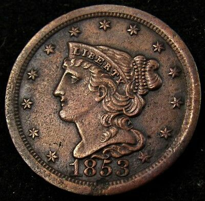 1851 Braided Hair Half Cent - Fine - ½¢ Copper Great Color