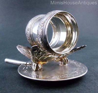 """BUTTERFLIES on a FAN""  MERIDEN B. #209 c.1880's - Antique Silver NAPKIN RING"