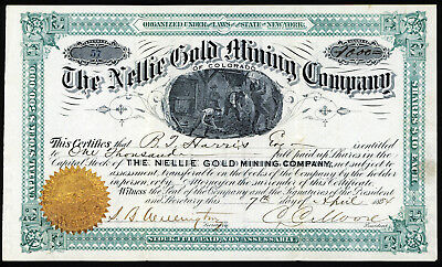 Nellie Gold Mining Company of Colorado, 1884 Issued Stock Certificate.